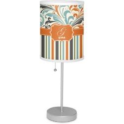 "Orange Blue Swirls & Stripes 7"" Drum Lamp with Shade (Personalized)"