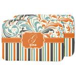 Orange Blue Swirls & Stripes Dish Drying Mat (Personalized)