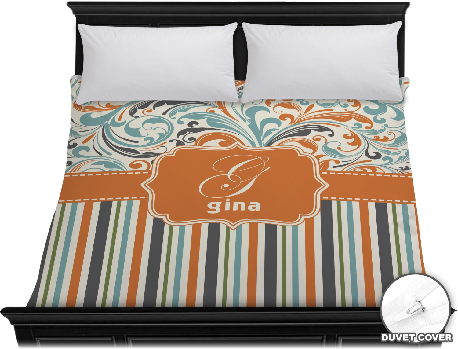 Orange Blue Swirls Amp Stripes Duvet Cover King