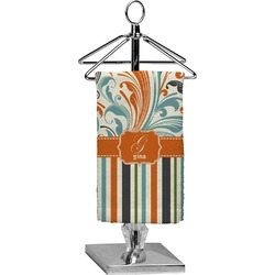 Orange Blue Swirls & Stripes Finger Tip Towel - Full Print (Personalized)