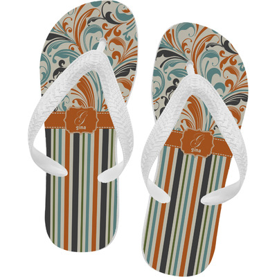 Orange Blue Swirls & Stripes Flip Flops (Personalized)