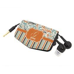 Orange Blue Swirls & Stripes Genuine Leather Cord Wrap (Personalized)