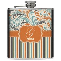 Orange Blue Swirls & Stripes Genuine Leather Flask (Personalized)