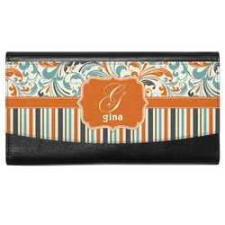 Orange Blue Swirls & Stripes Genuine Leather Ladies Wallet (Personalized)