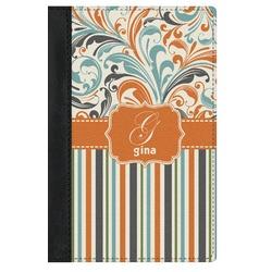 Orange Blue Swirls & Stripes Genuine Leather Passport Cover (Personalized)