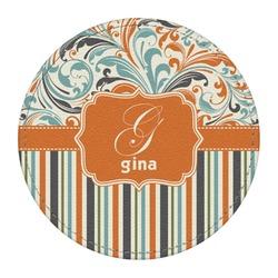 Orange Blue Swirls & Stripes Round Desk Weight - Genuine Leather  (Personalized)
