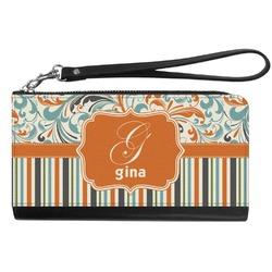 Orange Blue Swirls & Stripes Genuine Leather Smartphone Wrist Wallet (Personalized)