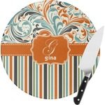 Orange Blue Swirls & Stripes Round Glass Cutting Board (Personalized)