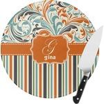 Orange Blue Swirls & Stripes Round Glass Cutting Board (Personalized)