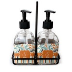 Orange Blue Swirls & Stripes Soap & Lotion Dispenser Set (Glass) (Personalized)