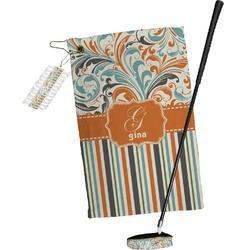 Orange Blue Swirls & Stripes Golf Towel Gift Set (Personalized)