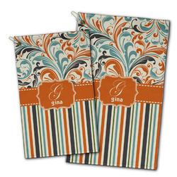 Orange Blue Swirls & Stripes Golf Towel - Full Print w/ Name and Initial