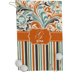 Orange Blue Swirls & Stripes Golf Towel - Full Print (Personalized)