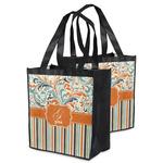 Orange Blue Swirls & Stripes Grocery Bag (Personalized)