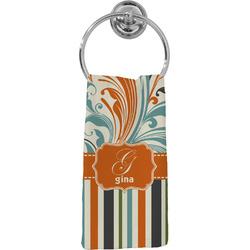Orange Blue Swirls & Stripes Hand Towel - Full Print (Personalized)