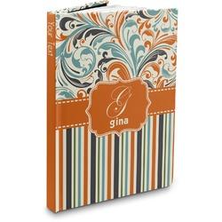 Orange Blue Swirls & Stripes Hardbound Journal (Personalized)