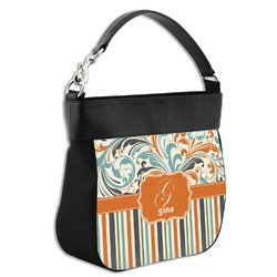 Orange Blue Swirls & Stripes Hobo Purse w/ Genuine Leather Trim (Personalized)