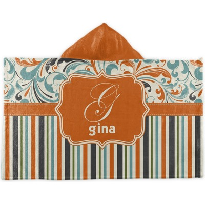 Orange Blue Swirls Amp Stripes Hooded Towel Personalized