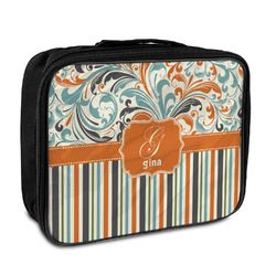 Orange Blue Swirls & Stripes Insulated Lunch Bag (Personalized)