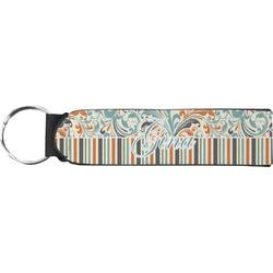 Orange Blue Swirls & Stripes Neoprene Keychain Fob (Personalized)