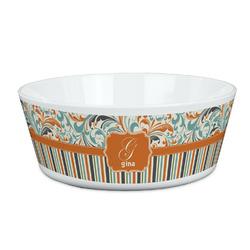 Orange Blue Swirls & Stripes Kid's Bowl (Personalized)