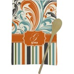 Orange Blue Swirls & Stripes Kitchen Towel - Full Print (Personalized)