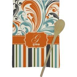 Orange Blue Swirls & Stripes Kitchen Towel - Full Print (Personalized)
