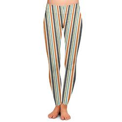 Orange Blue Swirls & Stripes Ladies Leggings (Personalized)