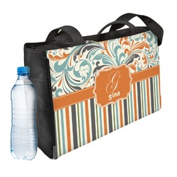 Orange Blue Swirls & Stripes Ladies Workout Bag (Personalized)