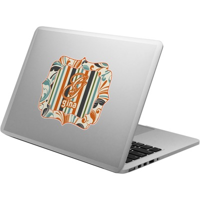 Orange Blue Swirls & Stripes Laptop Decal (Personalized)