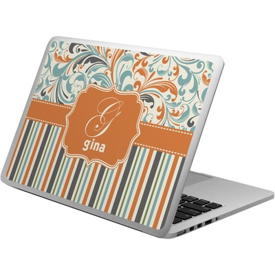 Orange Blue Swirls & Stripes Laptop Skin - Custom Sized (Personalized)