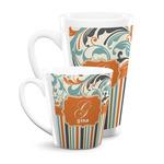 Orange Blue Swirls & Stripes Latte Mug (Personalized)