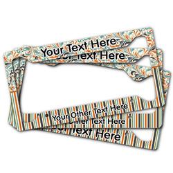Orange Blue Swirls & Stripes License Plate Frame (Personalized)