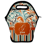 Orange Blue Swirls & Stripes Lunch Bag w/ Name and Initial