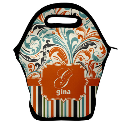 Orange Blue Swirls & Stripes Lunch Bag w/ Name and Initial