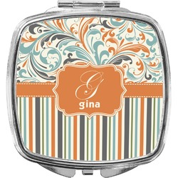 Orange Blue Swirls & Stripes Compact Makeup Mirror (Personalized)