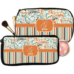 Orange Blue Swirls & Stripes Makeup / Cosmetic Bag (Personalized)