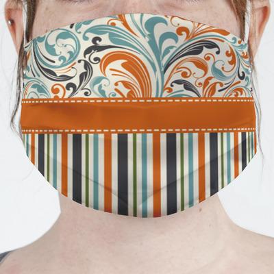 Orange Blue Swirls & Stripes Face Mask Cover (Personalized)