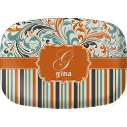 Orange Blue Swirls & Stripes Melamine Platter (Personalized)