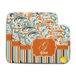 Orange Blue Swirls & Stripes Memory Foam Bath Mat (Personalized)