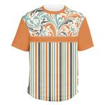 Orange Blue Swirls & Stripes Men's Crew T-Shirt (Personalized)