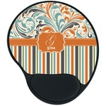 Orange Blue Swirls & Stripes Mouse Pad with Wrist Support