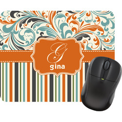 Orange Blue Swirls & Stripes Mouse Pad (Personalized)