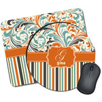 Orange Blue Swirls & Stripes Mouse Pads (Personalized)