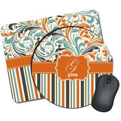 Orange Blue Swirls & Stripes Mouse Pads (Personalized)