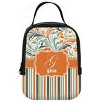 Orange Blue Swirls & Stripes Neoprene Lunch Tote (Personalized)