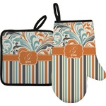 Orange Blue Swirls & Stripes Oven Mitt & Pot Holder (Personalized)