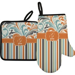 Orange Blue Swirls & Stripes Oven Mitt & Pot Holder Set w/ Name and Initial