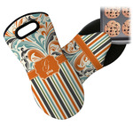 Orange Blue Swirls & Stripes Neoprene Oven Mitt (Personalized)
