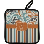 Orange Blue Swirls & Stripes Pot Holder (Personalized)